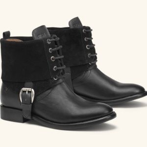 Trask Alex leather boots w/ removable suede shaft